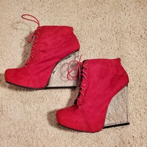 2/$30 NWOT Red 5in closed heels booties lace up